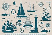 Set of nautical design elements, sailing ships, yachts, wind roses and skull. Vector illustration