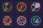 Set of neon icons for sporting games. Rackets and balls for playing table and big tennis, bats, helmets for baseball and american football, boxing glove. EPS10.
