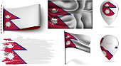 set of nepal flags collection isolated on white