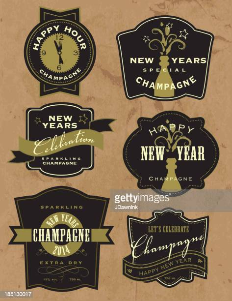 Set of New Years Champagne labels