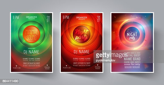 Set of Night Party Flyer or Poster or Banner Layout Template for Music Dance Club in the style of the Disco, House, Minimal, Trance ,Electronics or Indie Festival Rock Concert. Vector illustration. : stock vector