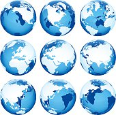 Globe set blue, transparent on white background 9 different planet positions. Additional Zip file contains: .AI(8), PDF and High res JPEG.