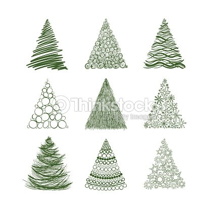 Set of nine christmas trees isolated on white background vector art thinkstock - Sapin original design ...
