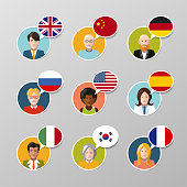 Set of nine colorful user avatars with different language speech bubbles