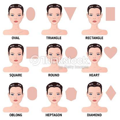 Set Of Nine Different Womans Face Shapes Vector Art