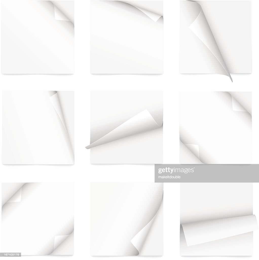 set of note paper with curled corner : Vector Art
