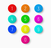 set of numbers from 1 to 9 on a round multicolored button with a shadow. Template for calculator or dialing.