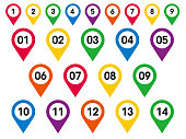 Set of Numbers Pin Marker Flat Icons