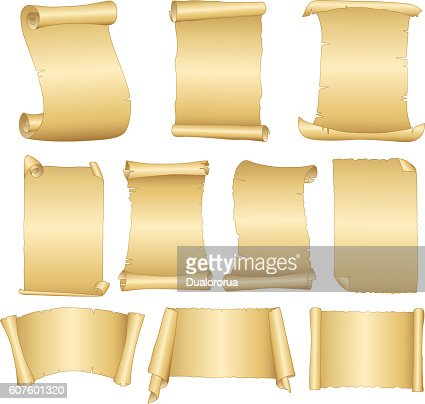 set of old blank scrolls paper on white background vector art, Powerpoint templates