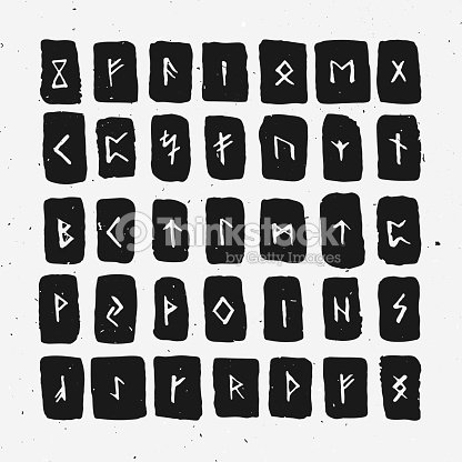 Set Of Old Norse Scandinavian Runes Carved In Wood Runic Alphabet