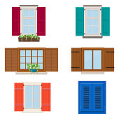 Set of open colorful different windows with shutters and flowers. Vector illustration
