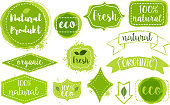 Set of bright green hand draw labels, badges and emblems for organic, natural, eco and bio products isolated on white background. Vector illustration.