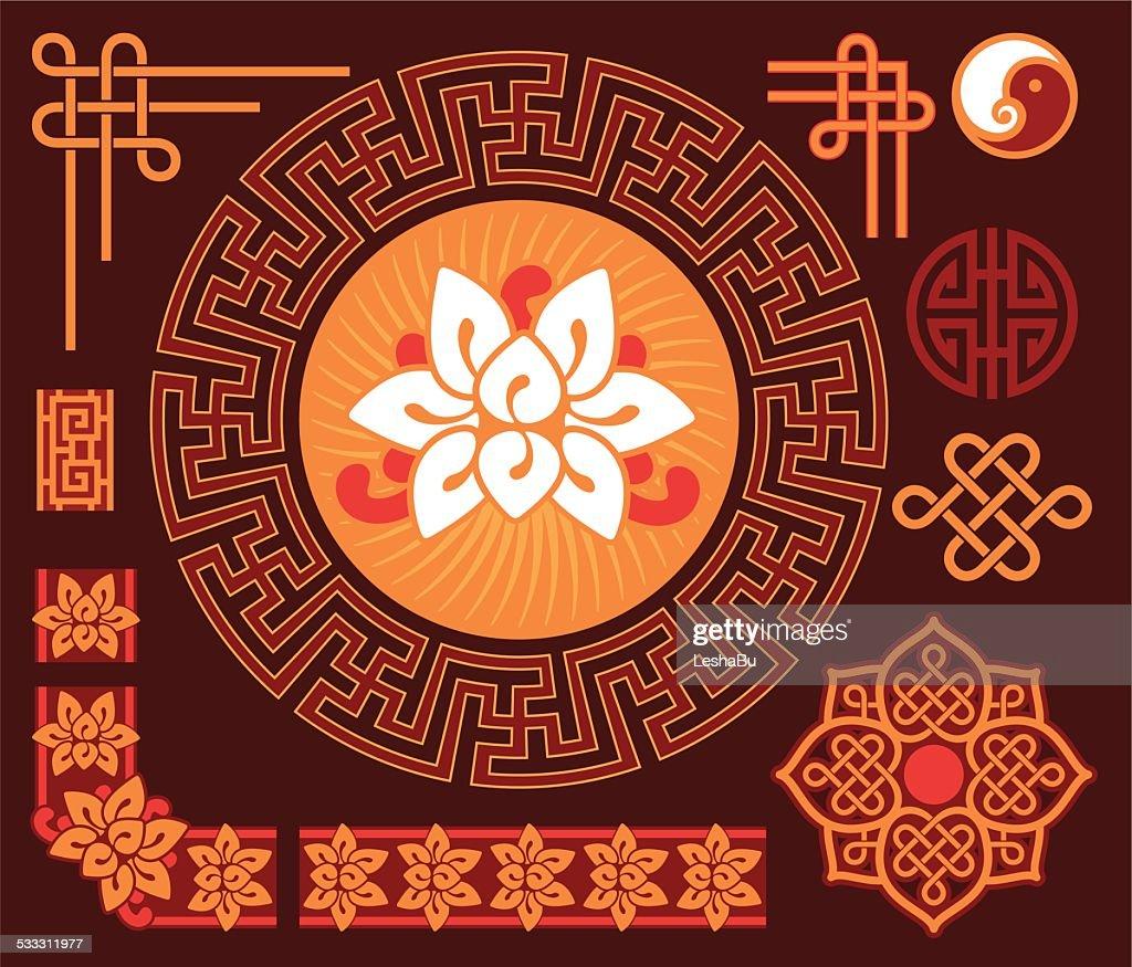 High Quality Set Of Oriental Design Elements : Vector Art