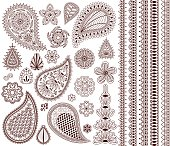 Set of oriental ornaments for henna tattoo and for your design. Plus five seamless borders