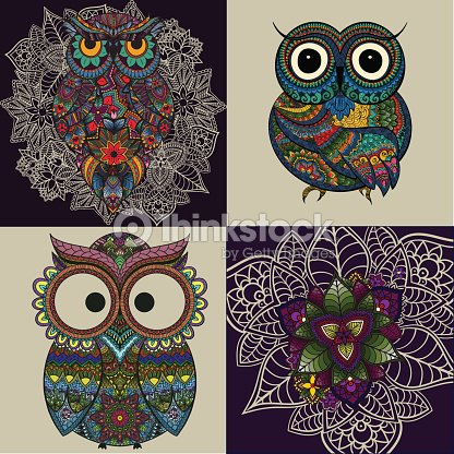 set of ornamental owls with mandala flowers and owl patterns vector art