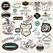 Big collection of vector labels badges stickers for logotype and poster design premium quality, active rest, camping, national park and other. Vintage style