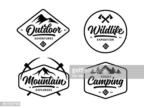 Set of outdoor wild life related labels badges emblems. Vector vintage illustration. : Vector Art