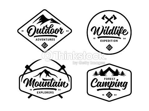 Set of outdoor wild life related labels badges emblems. Vector vintage illustration. : arte vettoriale