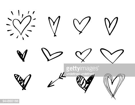 Set of outline hand drawn heart icon.Hand drawn doodle grunge heart vector set.Rough marker hearts isolated on white background. vector heart collection.Unique Painted.hand drawn arrow : Vector Art