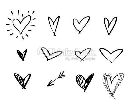 Set of outline hand drawn heart icon.Hand drawn doodle grunge heart vector set.Rough marker hearts isolated on white background. vector heart collection.Unique Painted.hand drawn arrow : stock vector