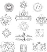 Collection of heraldry outline coat of arms and monograms design.File contain EPS10 and large JPEG.