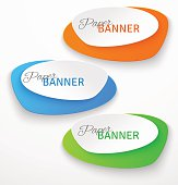 Set of oval colorful paper origami banners. Vector illustration
