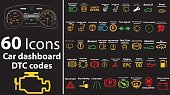 60 pack icons - Car dashboard, dtc codes, error message, check engine, fault, dashboard vector illustration, gas level, air suspension, collection, warnings, EPS 10