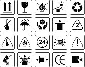Set Of Packaging Symbols including fragile, to protect from the sun, processing, protected from moisture and other signs. Can be used on the packaging.