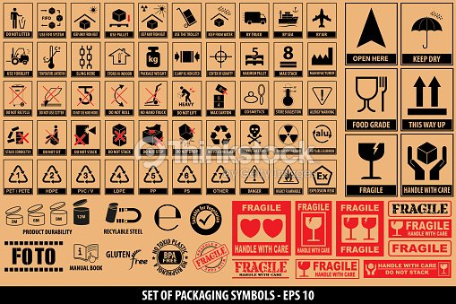 Set Of Packaging Symbols Tableware Plastic Fragile Symbols