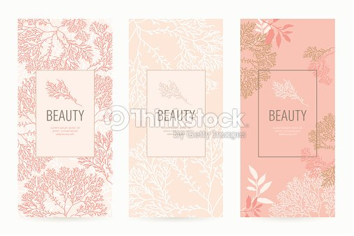a set of packaging templates with floral texture for luxury products