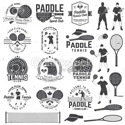 Set of Paddle tennis badge, emblem or sign. Vector illustration. Concept for shirt, print, stamp or tee. : stock vector