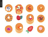 Set of various pancakes with berries, toppings and red fish