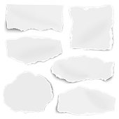 Set of paper different shapes scraps isolated on white background. Vector illustration.