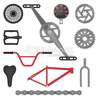 Set Of Parts For Bmx Bike Offroad Sport Bicycle Vector Stock Vector