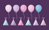 set of party hats and balloons helium vector illustration design