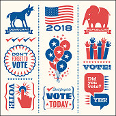 Set of patriotic design elements to encourage voting in United States elections. For web banners, cards, posters, clip art