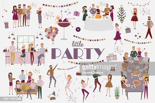 Conjunto de personas celebrando, divertidos dibujos animados de estilo los iconos colección con hombres y mujeres : arte vectorial