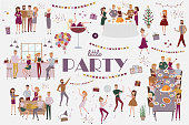 Set of people celebrating, funny cartoon style icons collection with men and women. Laughing and dancing young people at party. Editable vector