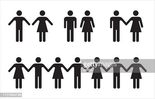 Set of people icons in black – man and woman. : stock vector