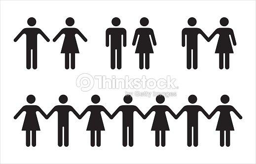 블랙-남자와 여자 사람 아이콘의 집합입니다. : 벡터 아트