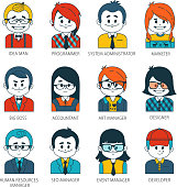 Set of people icons in flat style with faces. Vector women, men character Collection of professions in IT company.