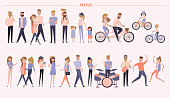 Set of people in different positions of the body, walking, ride a bike, taking photo, talking to each other, cartoon flat design. Editable vector illustration