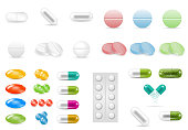 Set of pills in different forms and shapes isolated on the white background. Tablets of various colors. Medicine and drugs.