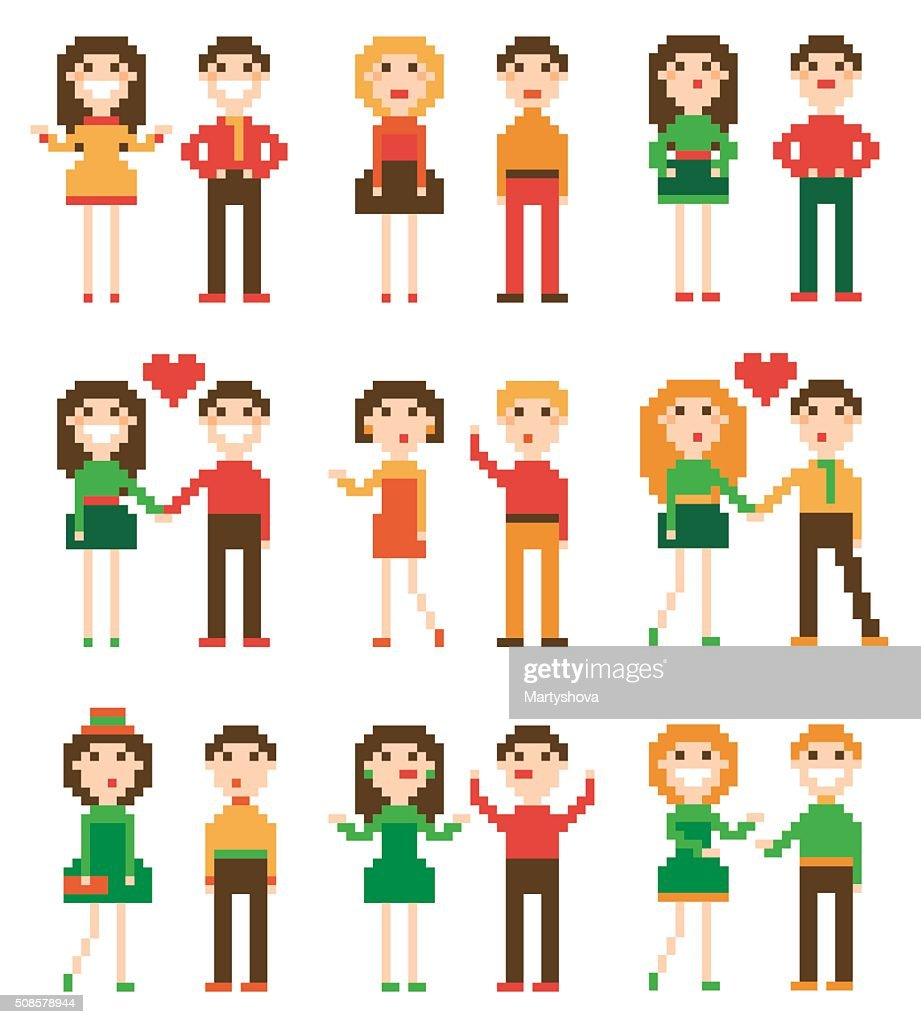 Set of pixel people. : Vector Art
