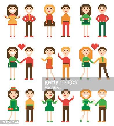 Set of pixel people. : Vector Art