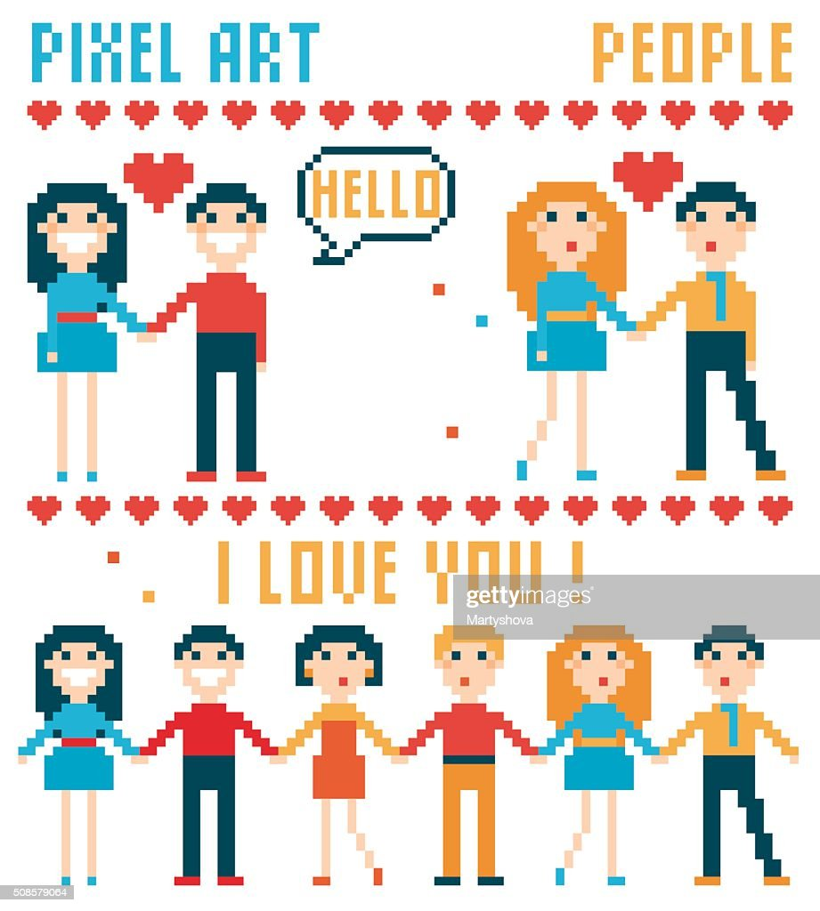 Gruppo di pixel persone, parole, cuori. : Arte vettoriale