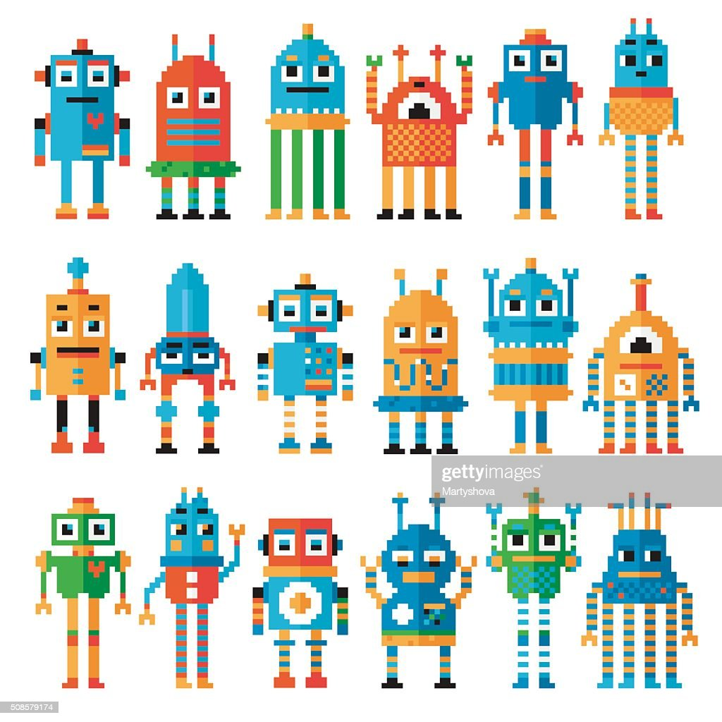 Set of pixel robots. : Vector Art
