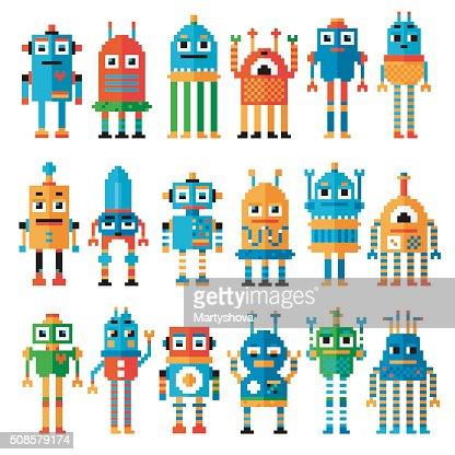 Set of pixel robots. : Vectorkunst