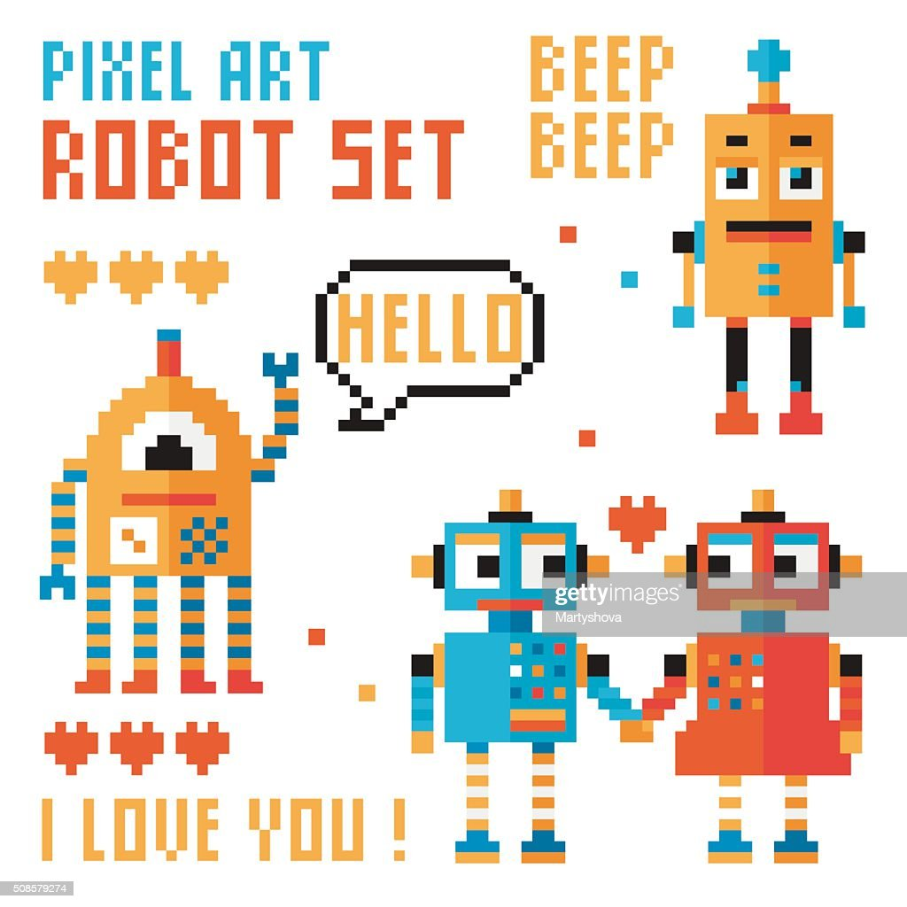 Gruppo di pixel robot, parole, cuori. : Arte vettoriale