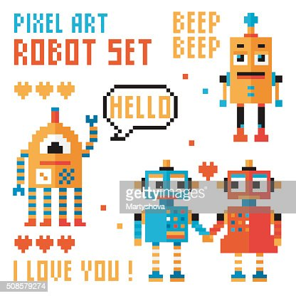 Set of pixel robots, words, hearts. : Vector Art